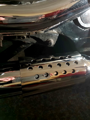 exhaust shrouds in gleaming stainless steel